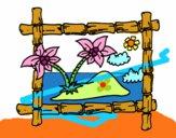 Desenho Quadro com palmeiras pintado por REGIONAL