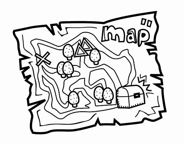desenho de mapa do tesouro pintado e colorido por usuário não
