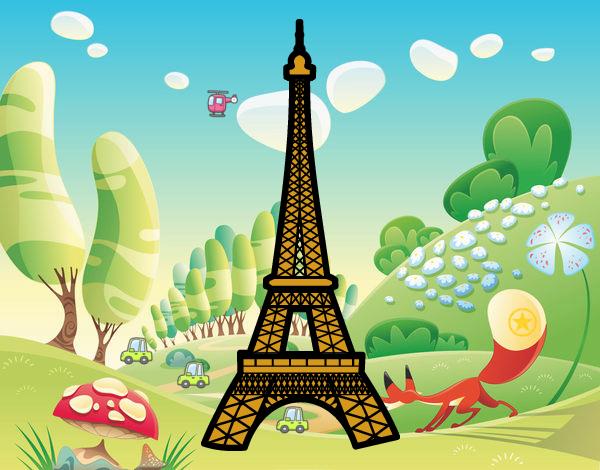 Desenho De Torre Eiffel Pintado E Colorido Por Nagib O Dia