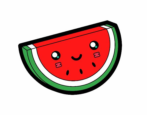 desenho de fatia de melancia pintado e colorido por fabih o dia 28