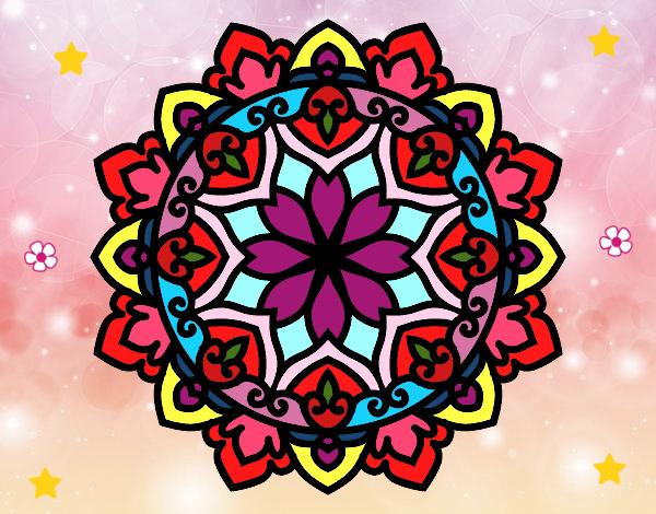 Desenho de Mandala colorida pintado e colorido por