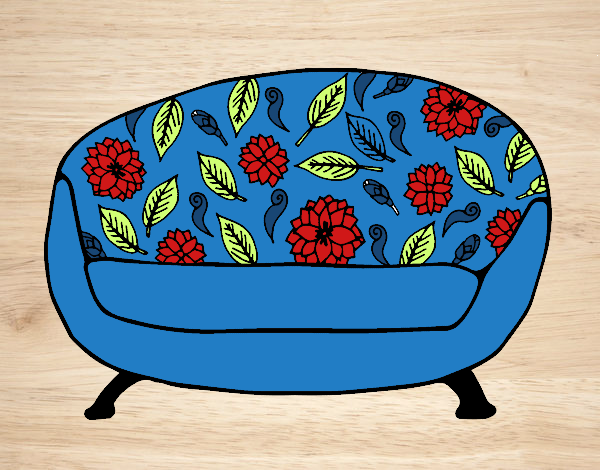 Desenho de sof vintage pintado e colorido por usu rio n o for Sala de estar retro vintage