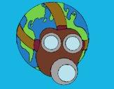 Desenho Terra com máscara de gás pintado por Hudsonzin