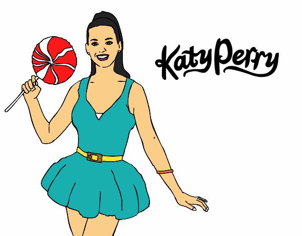desenho de katy perry com um pirulito pintado e colorido por usuário