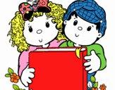 Crianças com um livro