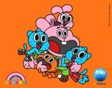 Desenho Gumball e amigos felizes pintado por luzinda