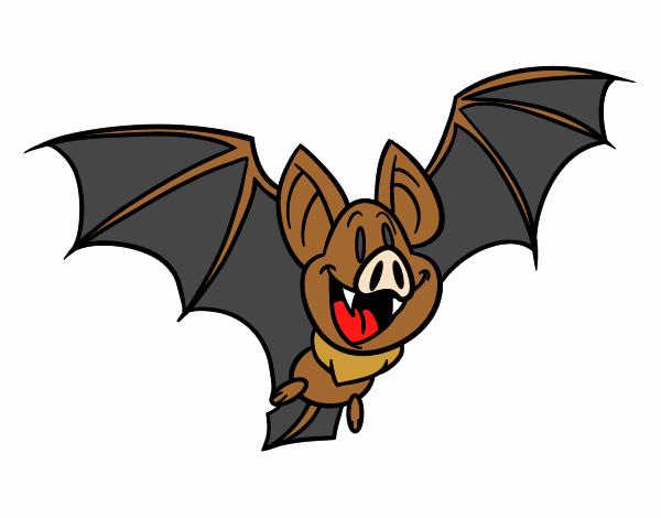 desenho de morcego feliz pintado e colorido por nataliamoe o dia 21