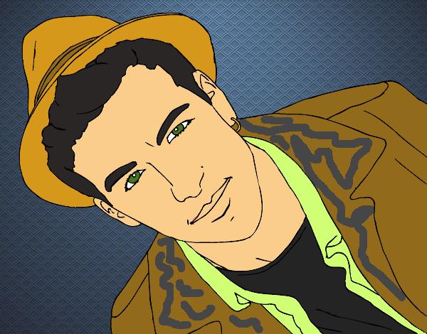Desenho De Mario Casas Com Chapéu Pintado E Colorido Por