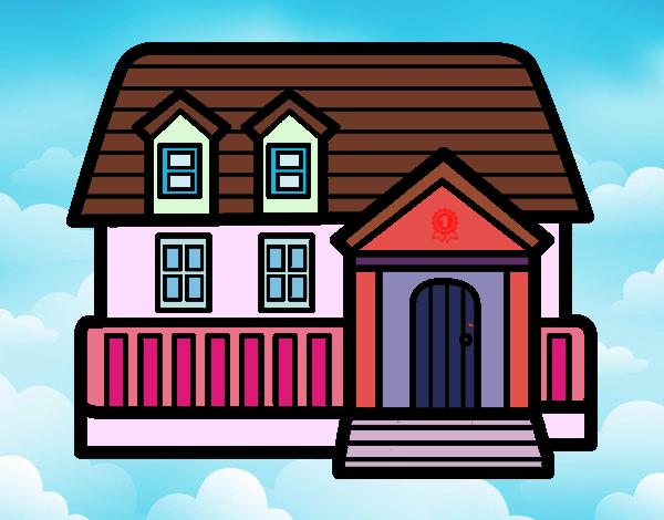 desenho de casa americana pintado e colorido por usuário não