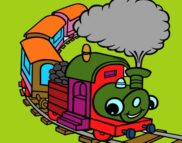 desenho de trem de ferro pintado e colorido por usuário não