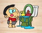 Desenho Menino no um vaso sanitário pintado por marilurdes