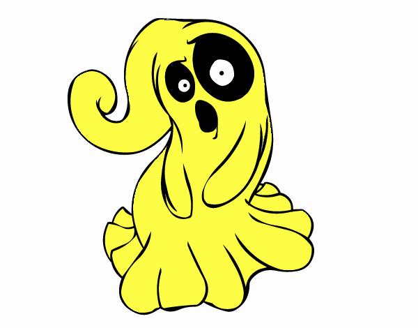 desenho de fantasma assustador pintado e colorido por usuário não