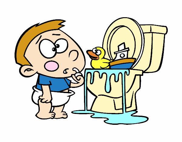 Imagens De Banheiro Para Colorir : Desenho de menino no um vaso sanit?rio pintado e colorido