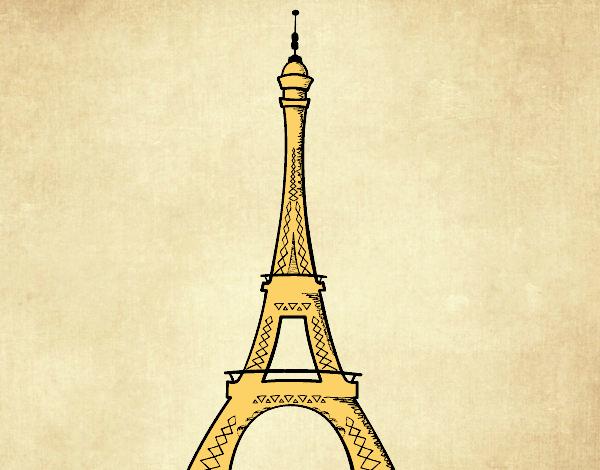 Desenho De A Torre Eiffel Pintado E Colorido Por Margarida