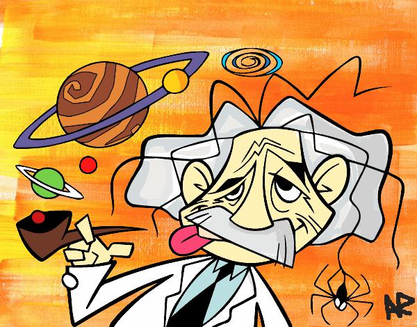 desenho de albert einstein pintado e colorido por usuário não