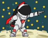 Desenho Astronauta com foguete pintado por wandersong