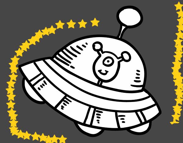Desenho de Extraterrestre na nave espacial pintado e colorido por ...