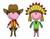Vaqueiro e índio contentes
