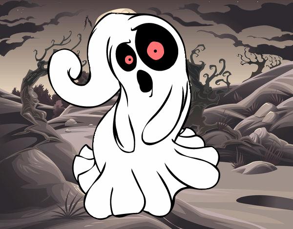 Desenho De Fantasma Assustador Pintado E Colorido Por