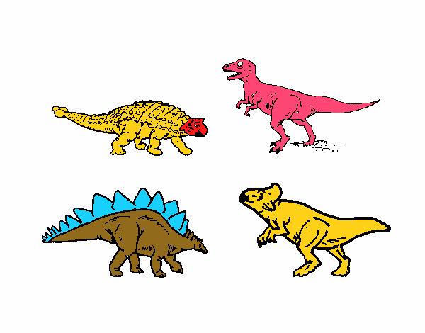Desenho De Dinossauros De Terra Pintado E Colorido Por