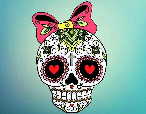Desenho De Caveira Mexicana Com Laço Pintado E Colorido Por