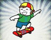 Desenho Menino com skate pintado por luzinda