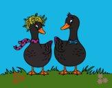 Desenho Par de patos pintado por Roza