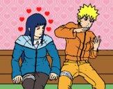 Desenho Hinata e Naruto pintado por Danguinha
