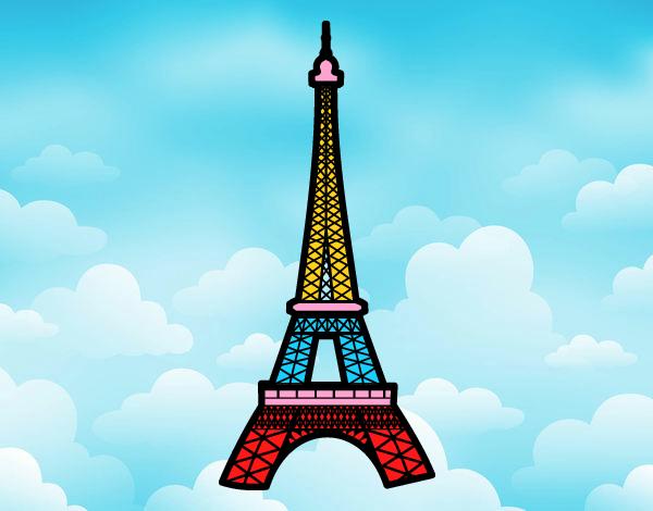 Desenho De Torre Eiffel Pintado E Colorido Por Neii O Dia