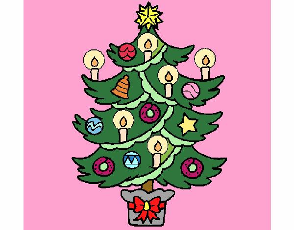 Desenho De Árvore De Natal Com Velas Pintado E Colorido