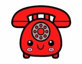 Desenho Telefone retro pintado por Danguinha
