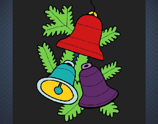 Desenho De 3 Sinos De Natal Pintado E Colorido Por