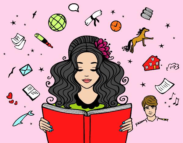 desenho de menina lendo um livro pintado e colorido por usuário não