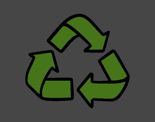 desenho de símbolo de reciclagem pintado e colorido por danguinha o