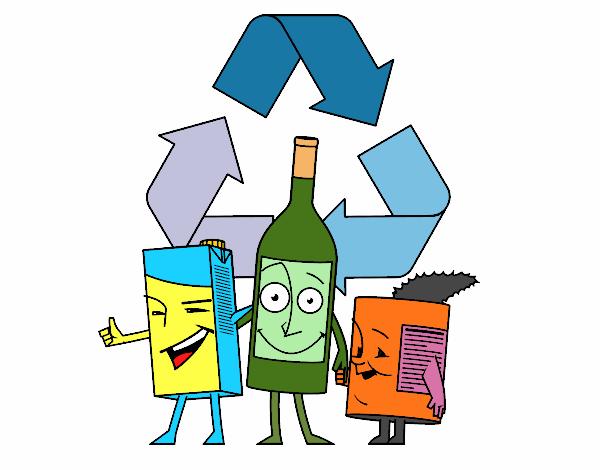 desenho de contentores de reciclagem pintado e colorido por