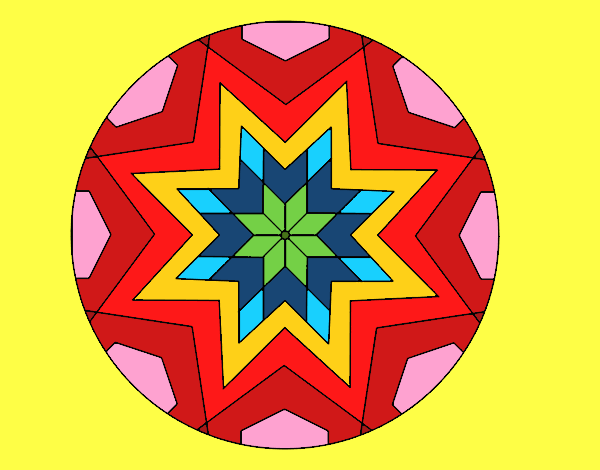 desenho de mandala mosaico estrela pintado e colorido por mvb1972 o