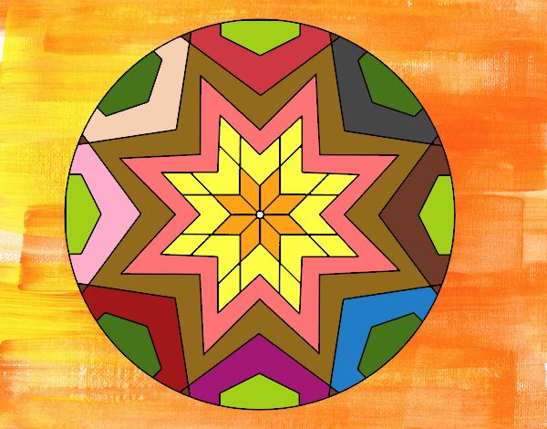 desenho de mandala mosaico estrela pintado e colorido por doceamiga