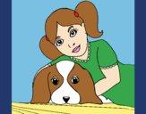 Desenho Menina a abraçar o seu cão pintado por BetaMarcus