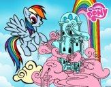 Desenho Rainbow Dash palácio pintado por jessica99