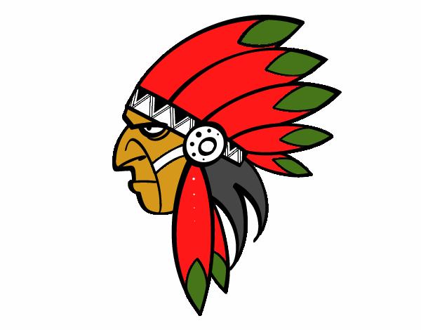 Desenho De Cara De índio Chefe Pintado E Colorido Por