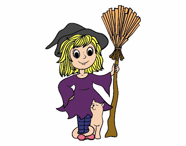 Desenho De Fantasia De Bruxa De Halloween Pintado E