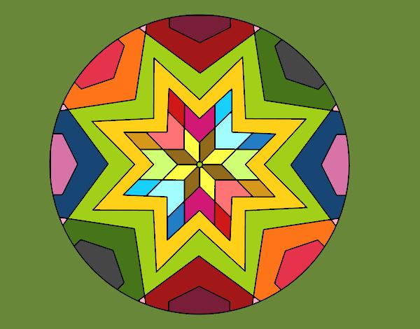 desenho de mandala mosaico estrela pintado e colorido por papagai o