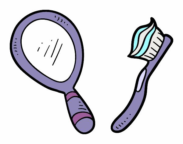 Imagens De Banheiro Para Colorir : Desenho de espelho e escova dentes pintado colorido