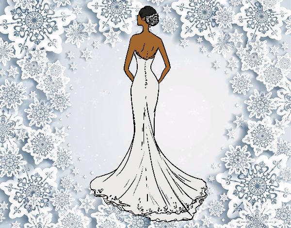 Desenho De Vestido De Noiva Com Cauda Pintado E Colorido Por