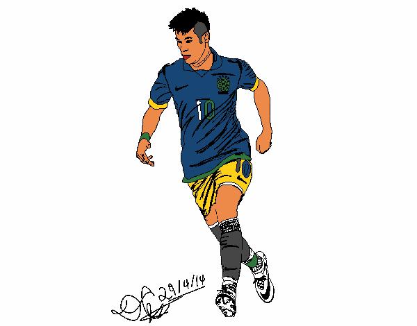 Desenho De Neymar Pintado E Colorido Por Usuário Não