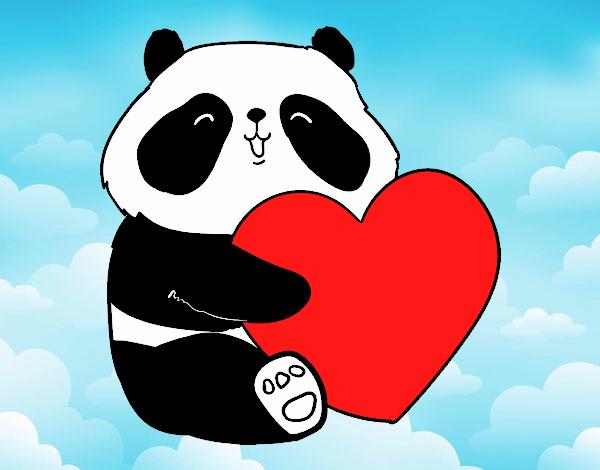 Desenho de amor panda pintado e colorido por usu rio n o registrado o dia 10 de fevereiro do 2016 - Coloriage de panda kawaii ...