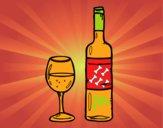 Garrafa de vinho e copo