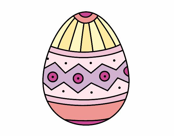 desenho de ovo de páscoa estampagem pintado e colorido por dessa mcr