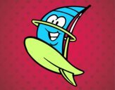 Prancha windsurf feliz