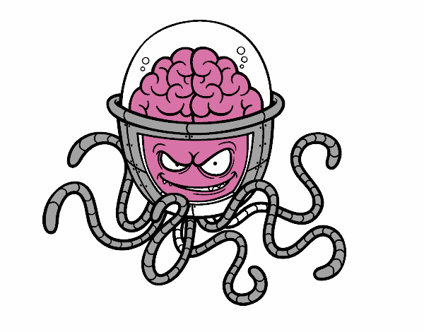 desenho de cérebro mecânico pintado e colorido por usuário não